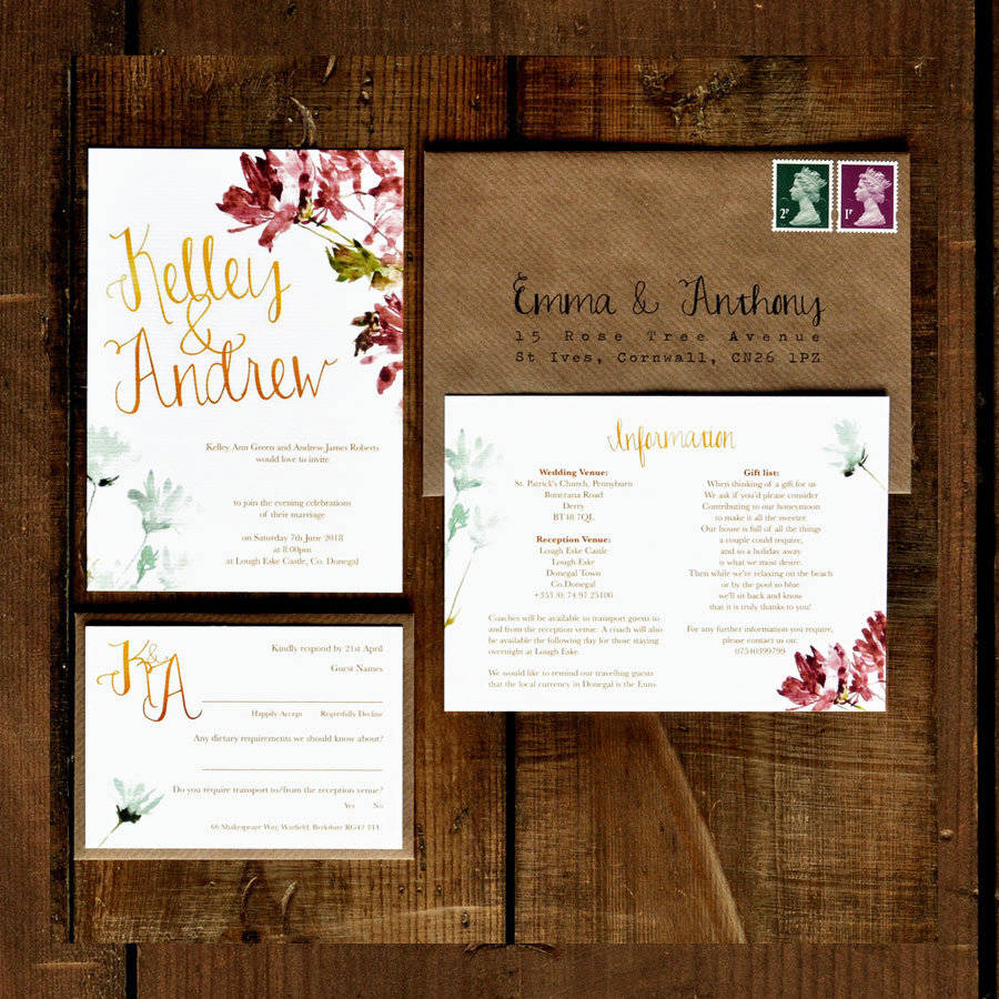 watercolour floral and calligraphy wedding invitation by feel good