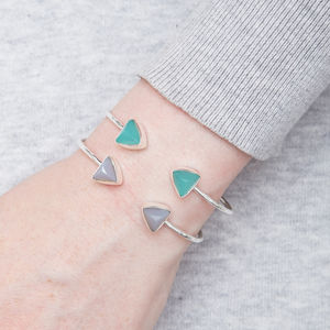 Adjustable Silver Bangle With Triangle Chalcedony - bracelets & bangles