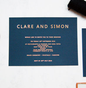 Rose Gold And Navy Copper Foil Wedding Invitation