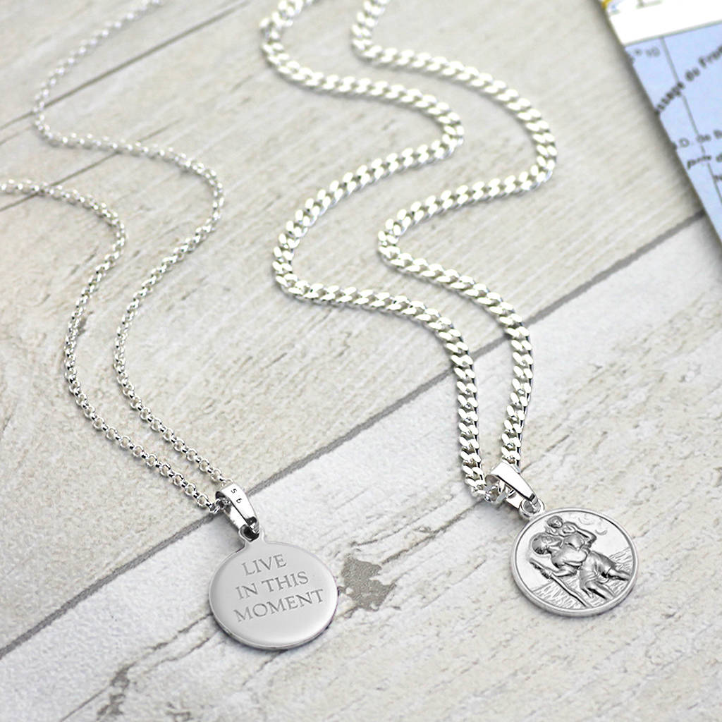 jewelry original box saint medal necklace christopher personalised medallion st