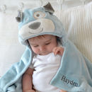 Personalised Blue Dog Hooded Baby Blanket