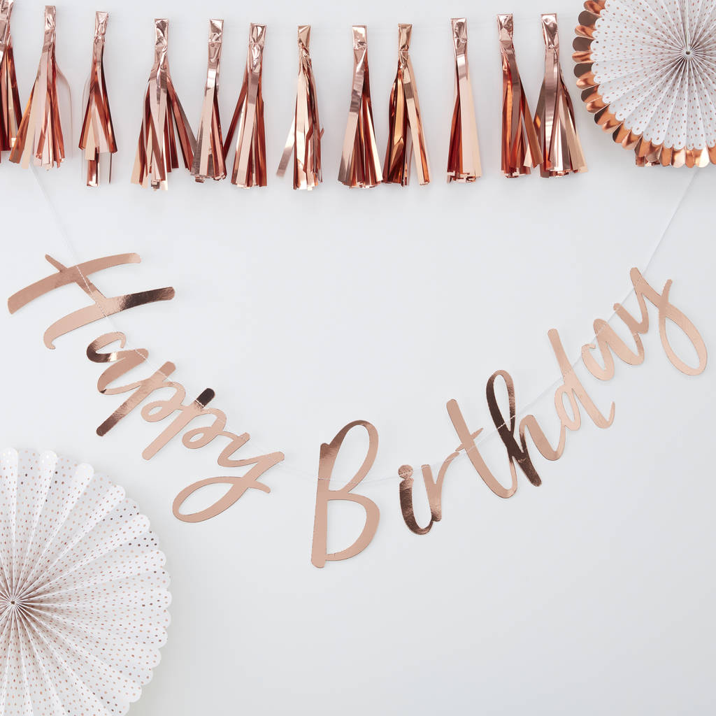 Rose Gold Foiled Pick And Mix Happy Birthday Backdrop