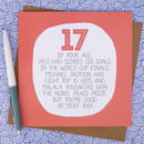 By Your Age… Funny 17th Birthday Card