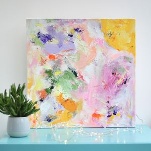 Bright Colourful Lilac Yellow Contemporary Abstract Art