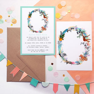 Pastel Wildlife Letter Invitations - baby shower invitations