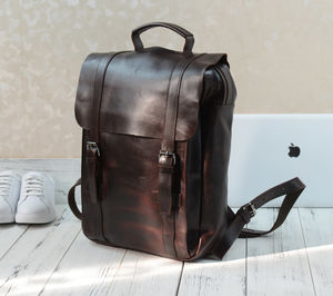 Genuine Leather Classic Style Backpack Gift For Her