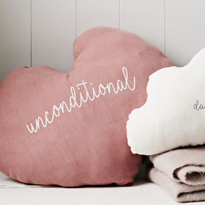 Large 'Unconditional' Heart Cushion - living room