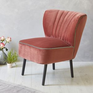 Blush Pink Velvet Mid Century Cocktail Chair - furniture