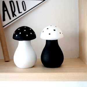 Personalised Wooden Mushroom Pair