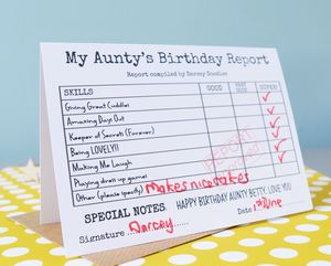 Personalised Aunty Or Uncle Birthday Report Card
