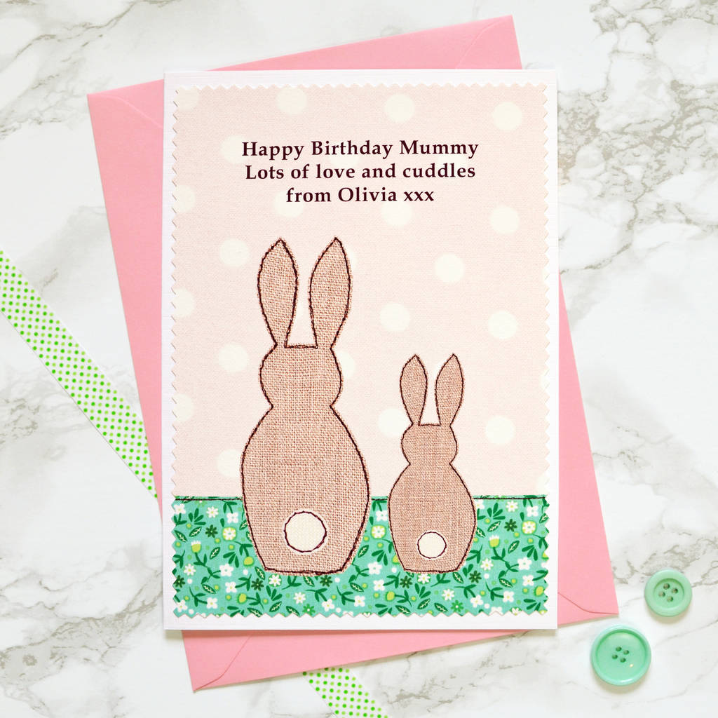 Bunnies personalised birthday card for mummy nanny by jenny bunnies personalised birthday card for mummy nanny negle Images