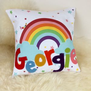 Personalised Children's Rainbow Cushion - personalised