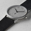 Stainless Steel Watch With Fullgrain Leather Strap