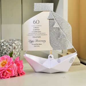 60th Diamond Wedding Anniversary Paper Boat Card - wedding, engagement & anniversary cards