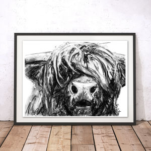 Highland Cow Charcoal Fine Art Giclée Print