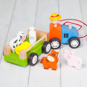 Personalised Wooden Toy Farm Tractor And Characters - cars & trains