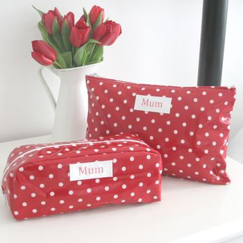 Personalised Floral Washbag And Cosmetic Bag