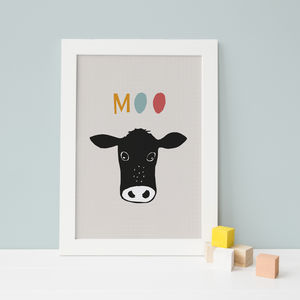 Peekaboo Cow In Colour, Children's Print - pictures & prints for children