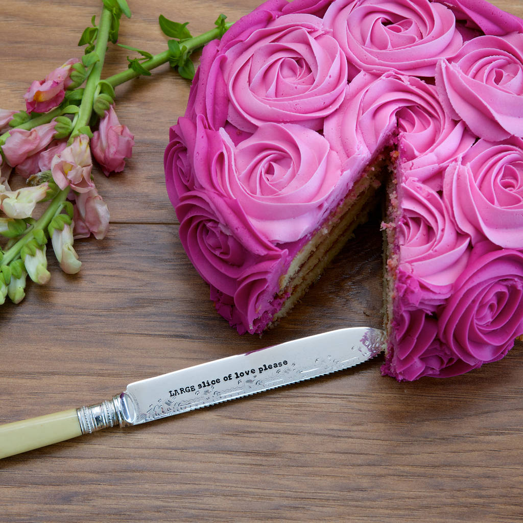 personalised silver plated vintage cake knife by la de da! living ...