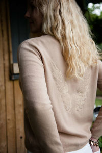Camel Cashmere Boxy Crew With Embroidered Angel Wings
