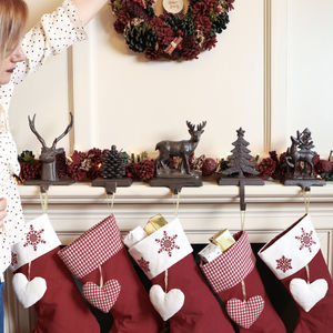 Traditional Brown Christmas Stocking Holder Collection - stockings & sacks