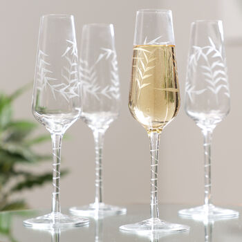 Luxury Botanical Champagne Flutes
