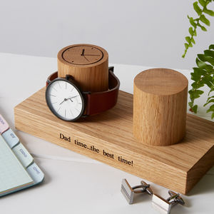 Personalised Solid Oak Double Watch Stand