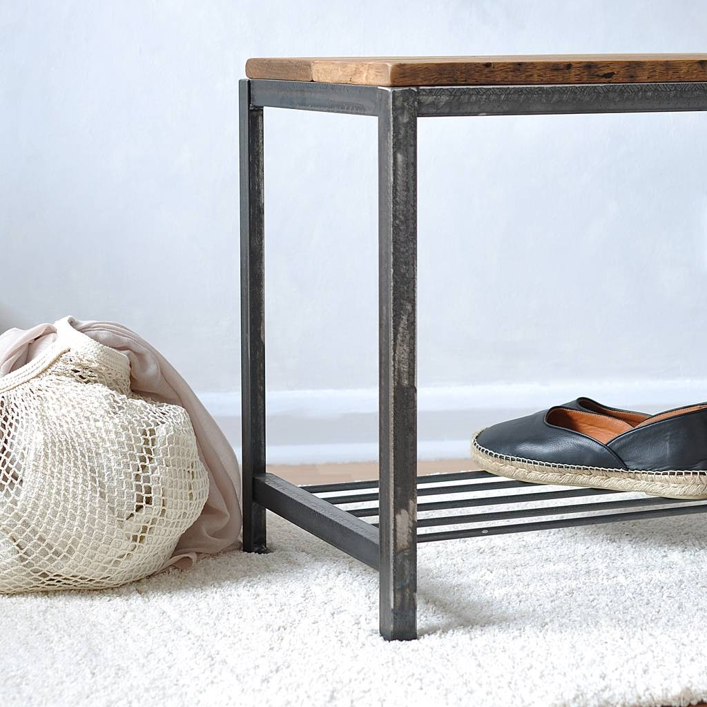 Reclaimed Wood And Steel Shoe Rackbench By Möa Design