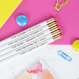 Set Of Five White Pencils With Purpose