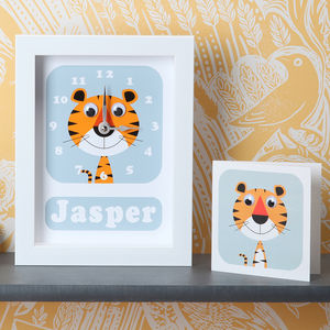 Personalised Framed Animal Clocks - children's room