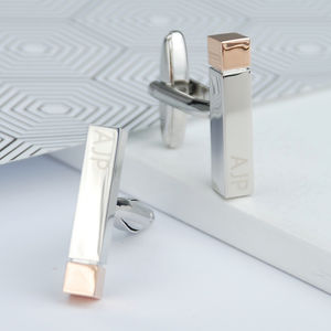 Personalised Polished Initial Bar Cufflinks - cufflinks