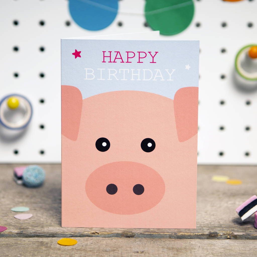 cute pig birthday card by aliroo