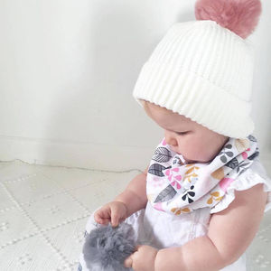 White Pom Beanie - hats, scarves & gloves