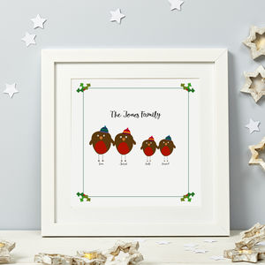Family Christmas Robin Print - gifts for her