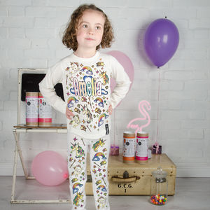Personalised Unicorn Colour In Pyjamas With Pens - baby & child sale