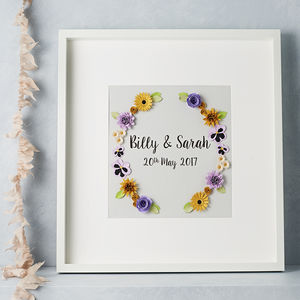 Personalised Framed Flower Art Wedding Picture - 1st anniversary: paper