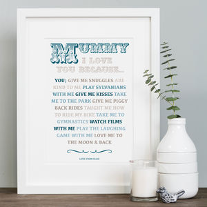 'I Love You Because' Print For Mother's Day In Mount