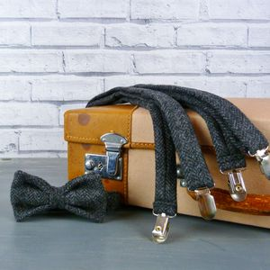 Herringbone Tweed Bow Tie And Braces - ties & tie clips