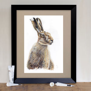 Wild Brown Hare Signed Mounted Giclée Print - animals & wildlife