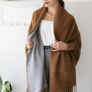 Feather Trim Sleeved Pile Weave Soft Blanket Poncho