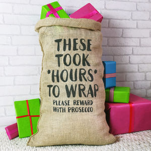 Christmas Sack For Adults Reward With Prosecco - stockings & sacks