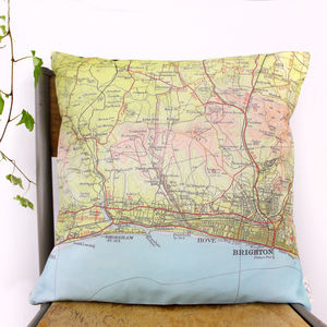 Brighton Vintage Map Print Cushion