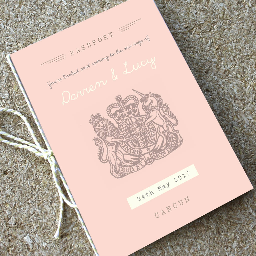 blush passport wedding invitation travel booklet by rodo creative ...