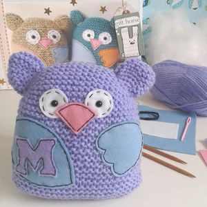 Personalised Owl Learn To Knit Craft Kit - knitting kits