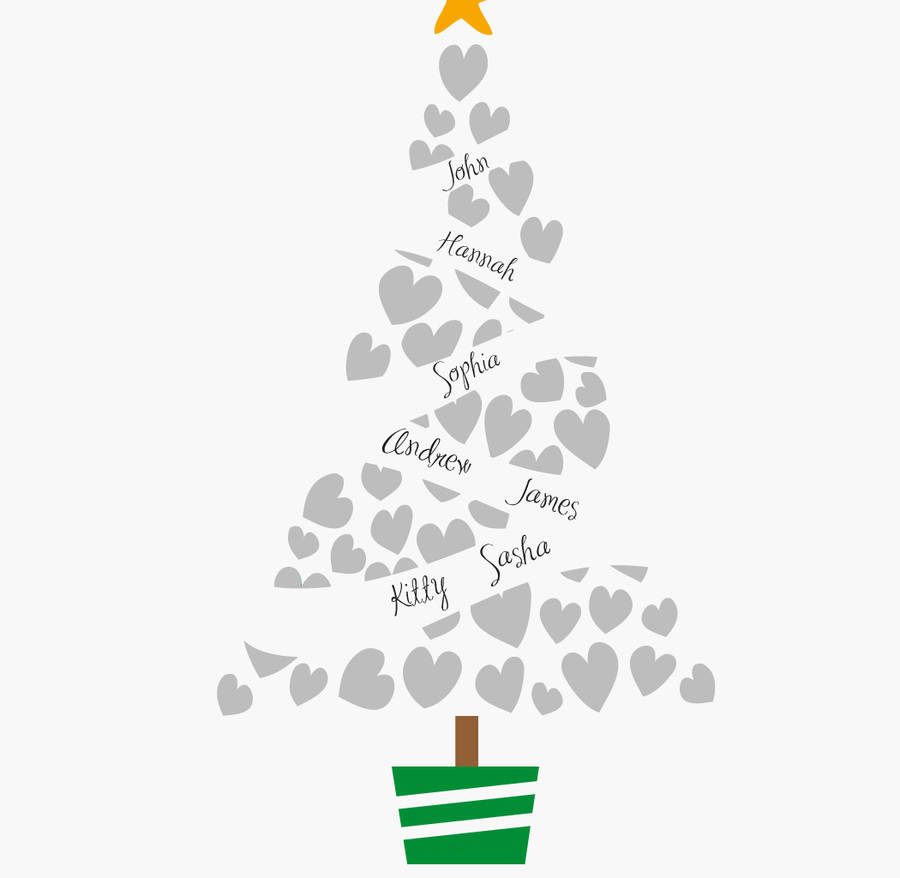 christmas tree personalised family christmas print by loveday