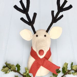 Reindeer Head White Felt Wall Decoration - christmas decorations