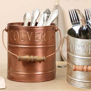 Country Kitchen Embossed Cutlery Caddy Bucket