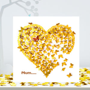 Mum Butterfly Heart Card, Mum Gold Heart Birthday Card