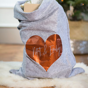Personalised Grey Felt 'Heart' Christmas Sack