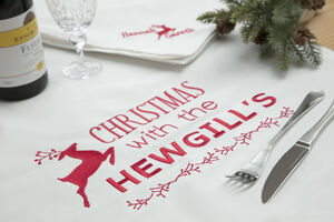 Personalised Organic Christmas Dinner Tablecloth
